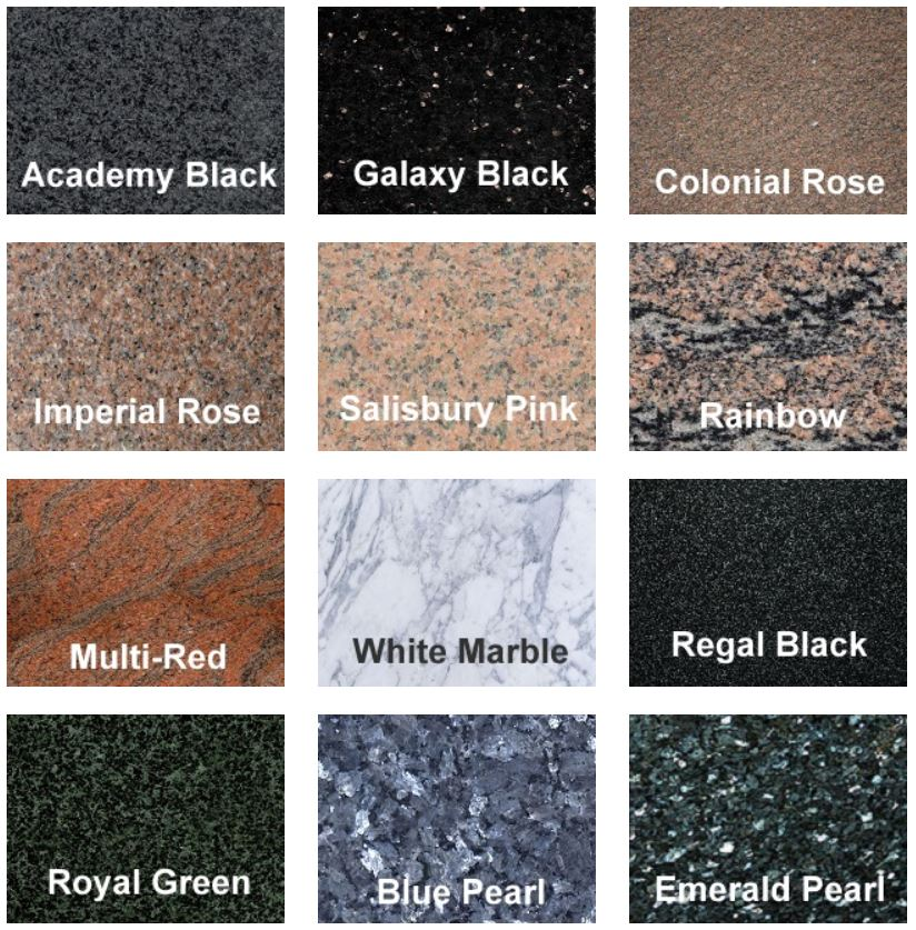 picture of different granite headstone colors