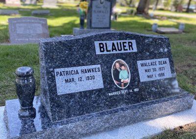 Blue pearl companion slant headstone